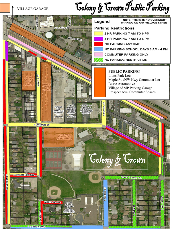 Public Parking map for NWTA reenactment in Mount Prospect May 14-15