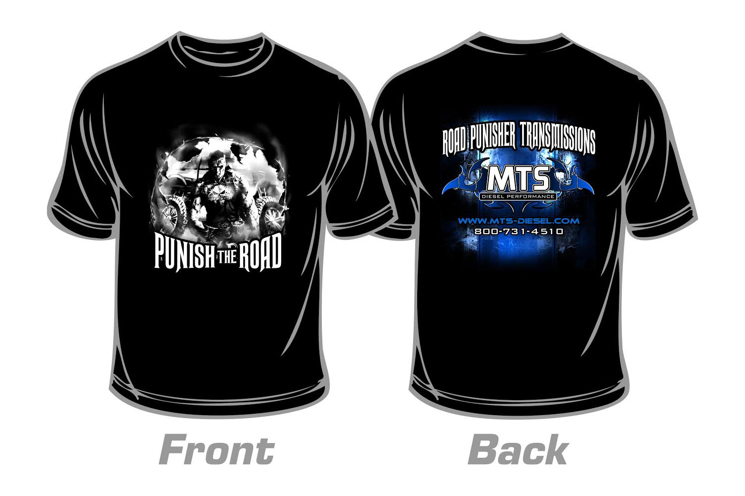 hight resolution of large road punisher t shirt
