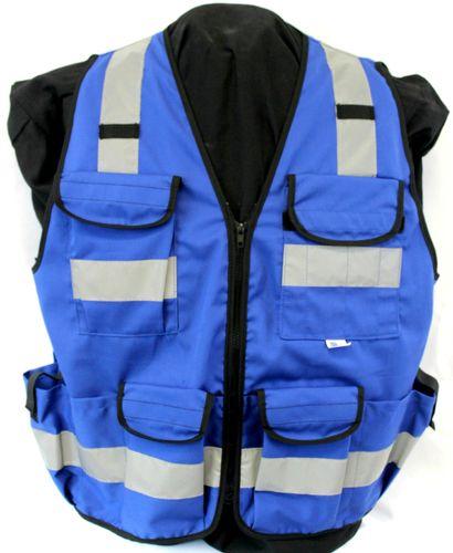 AmeriViz BLUE 11 PKT VEST SURVEYOR ZIPPER  SAFETY