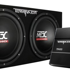 picture of terminator tnp212d2 dual 12 inch 400w rms sealed enclosure and mono block amplifier  [ 1600 x 710 Pixel ]