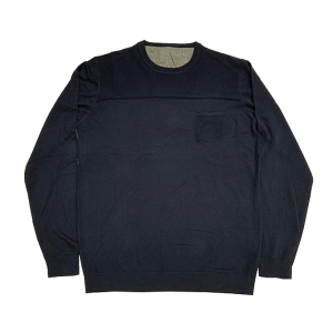 Men's Long Sleeve Half Moon Crew-Neck Sweater