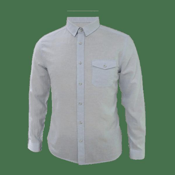 Men's Long Sleeve Linen Blended Flap-Pocket Shirt