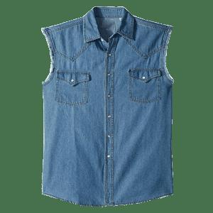 Men's Sleeve Less Denim Shirts