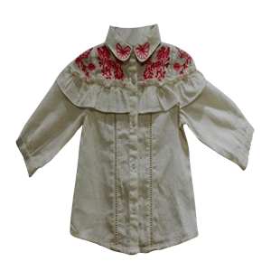 Girl's ¾  Sleeve Embroidered Dress