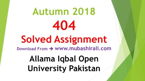 404 Solved Assignments autumn