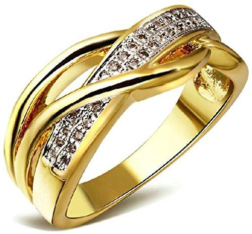 DamenRing 18K Weigold Vergoldet Wei Zirkonia
