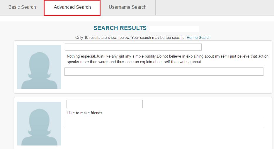 Pof advance search