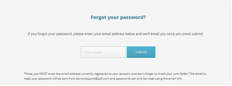 Pof password reset link