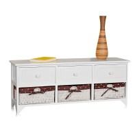 Kommode Sitzbank Truhe Landhaus Schrank mit Schubladen