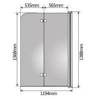 139x119CM Badewannen Duschabtrennung aus Glas ...