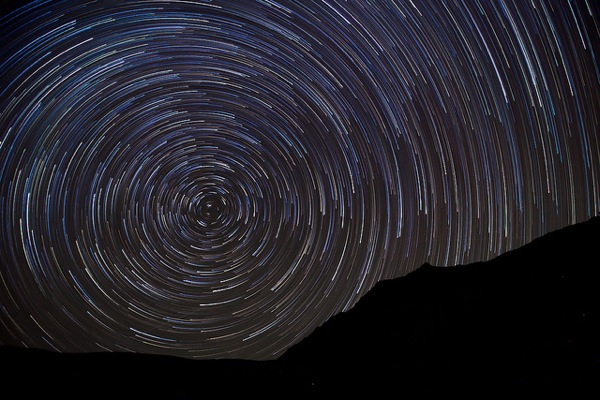 Long-exposure of stars from Death Valley National Park