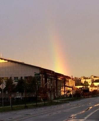 Rainbow in an industrial area