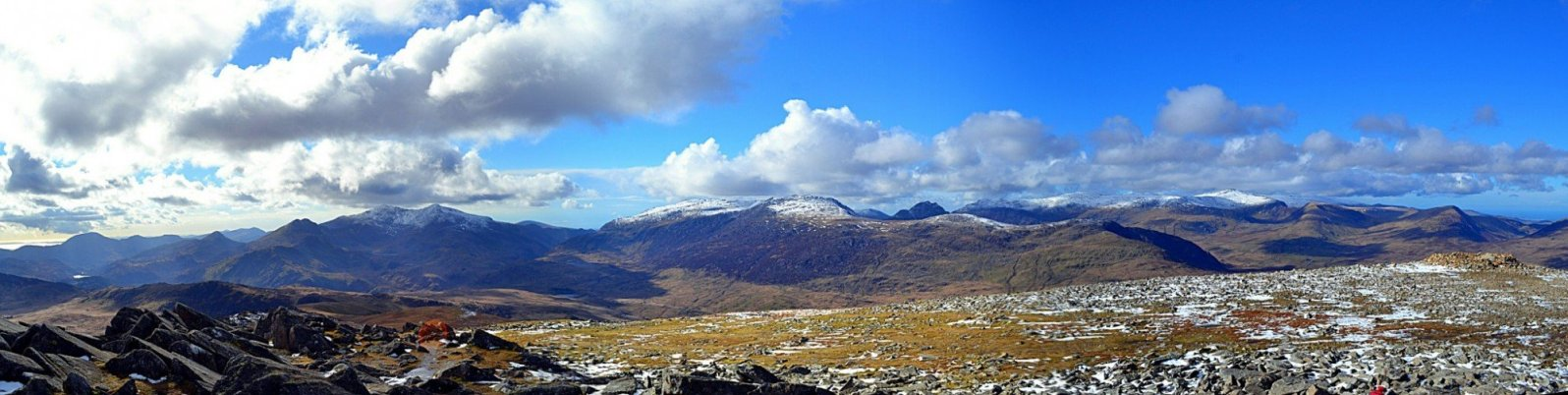 The amazing view of Snowdonia from the summit