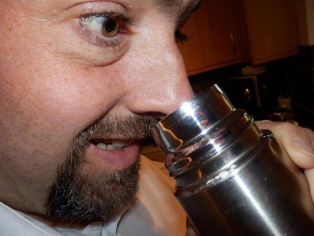 Nobody should be this excited when sniffing a flask...