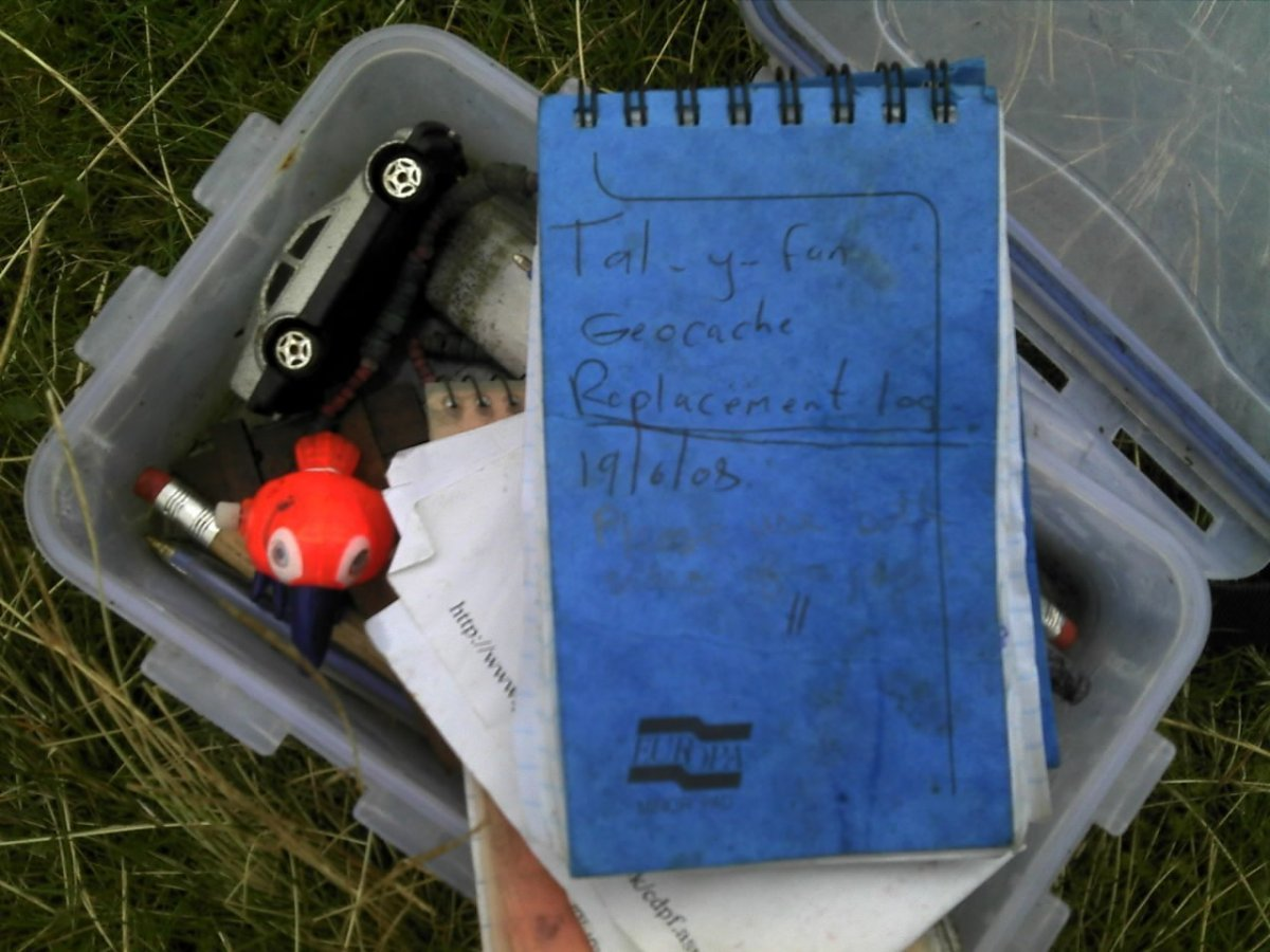 Geocache on Tal-y-Fan, found by accident as it wasn't well hidden. Hope the next guys found it.