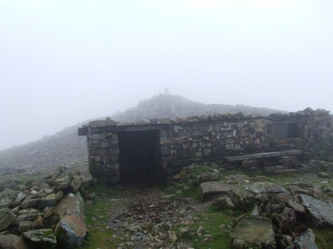 Summit shelter, not much of a view!