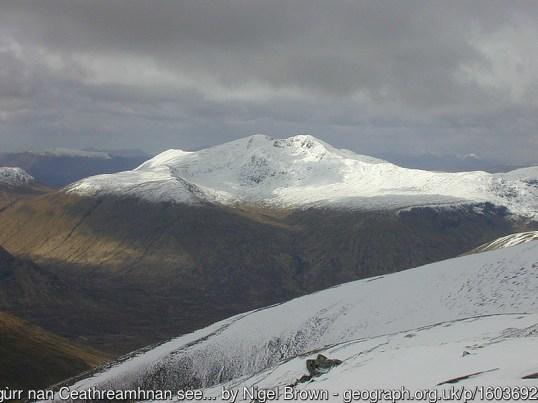 Sgùrr nan Ceathreamhnan seen from A' Chràlaig Taken from the north ridge of A' Chràlaig.