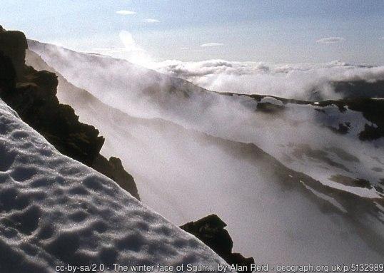 The winter face of Sgurr nan Ceathramhnan