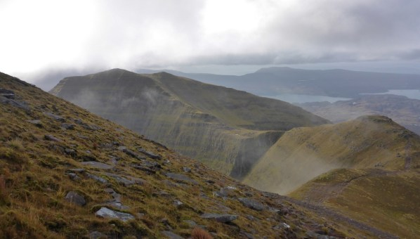 Looking back along the ridge on the ascent to Sgurr Mhor
