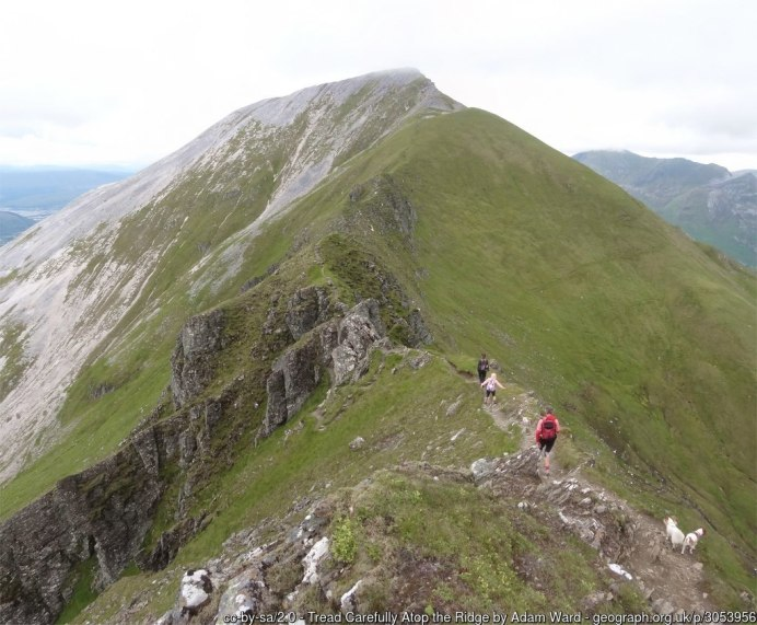 Tread Carefully Atop the Ridge On the airy switchback of the Devils Ridge in the Mamores.