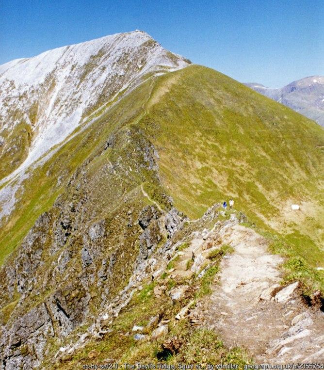 The Devil's Ridge, Sgurr a' Mhaim A well worn path on the popular Mamores range.