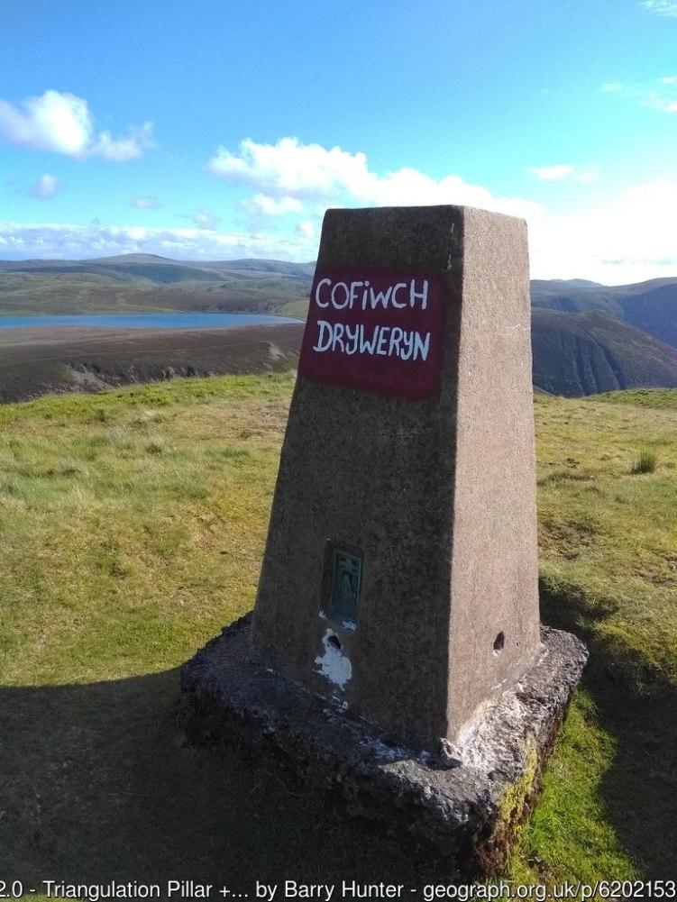 Triangulation Pillar on Moel Fadian + Cofiwch Dryweryn