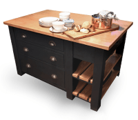 Freestanding Oak Kitchen Islands with Pan Drawers - Mudd & Co