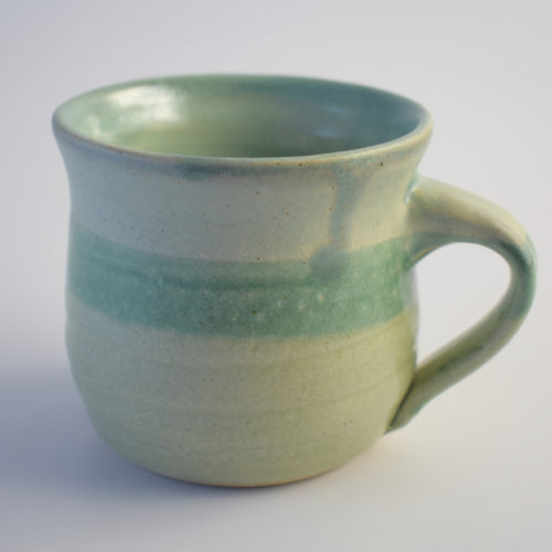 green stoneware pottery mug