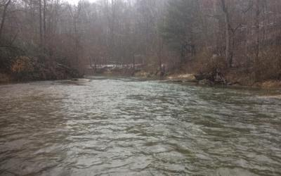 Muddy Creek is full of water at 250cfs.