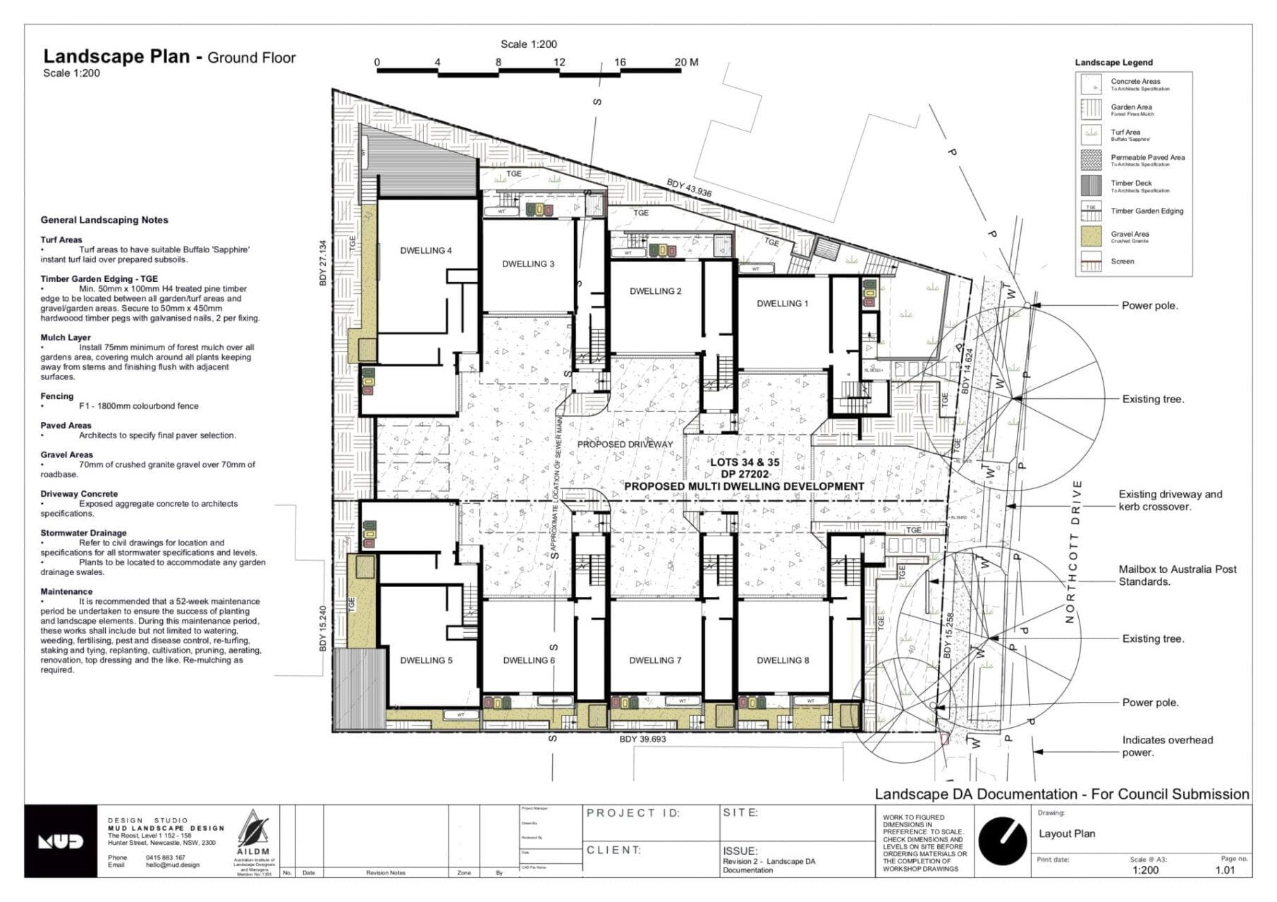Landscape planting drawing for multi dwelling development