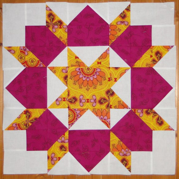 "First quilt block - it's only 24"" square"