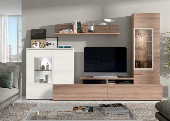Mueble de saln roble y blanco Armis 7