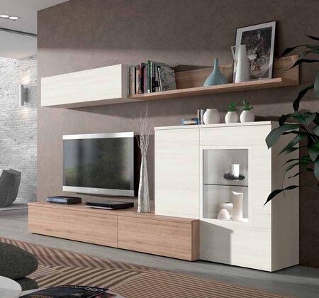 Mueble de saln ROBLE NATURAL y BLANCO POLAR  Muebles