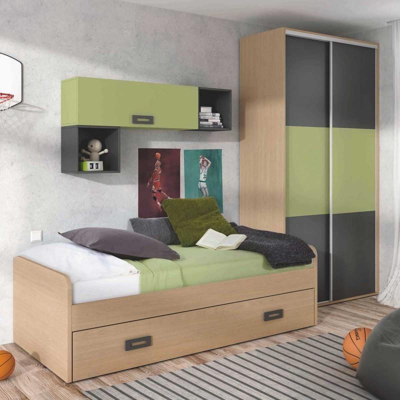 Habitacin juvenil con cama nido armario y mdulos de