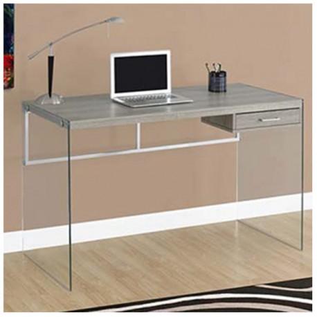 Mesa escritorio con cajn y estructura de cristal madera