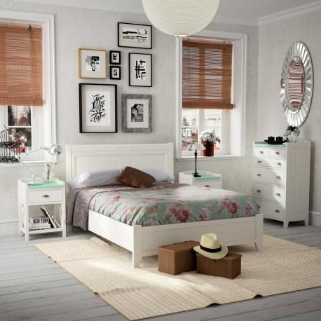 Dormitorio Vintage con cabecero mesitas bancada y xinfonier