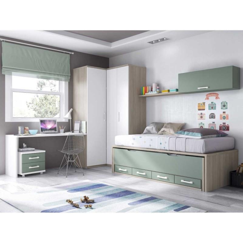 Habitacin juvenil con doble cama y cajones