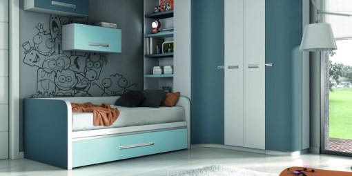 Habitación juvenil en tonos azules y grises