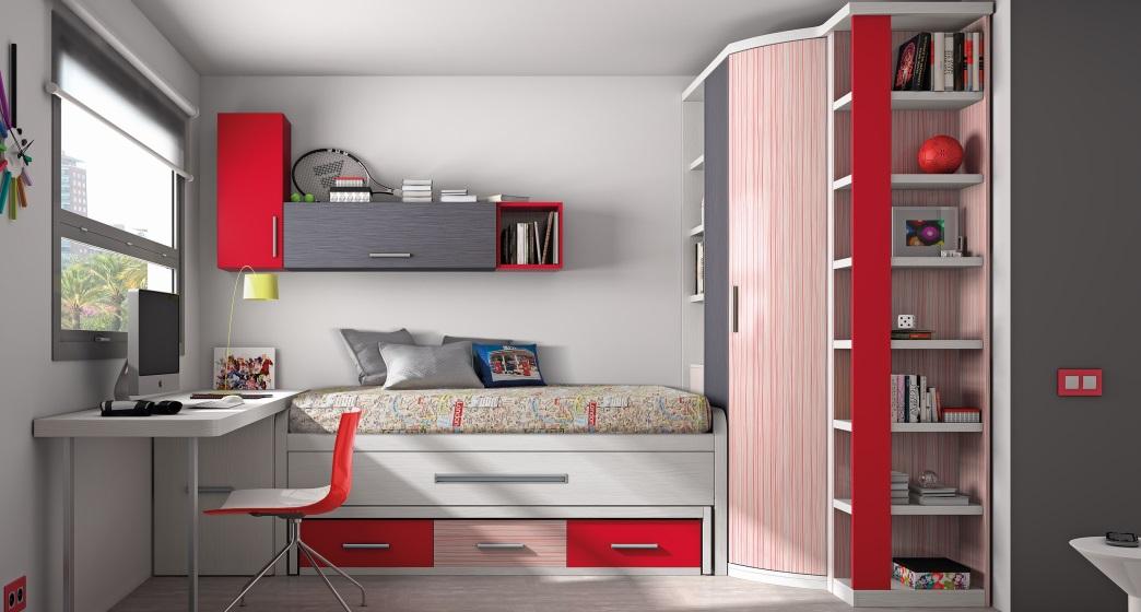 Habitación juvenil provista de armario, cama y escritorio