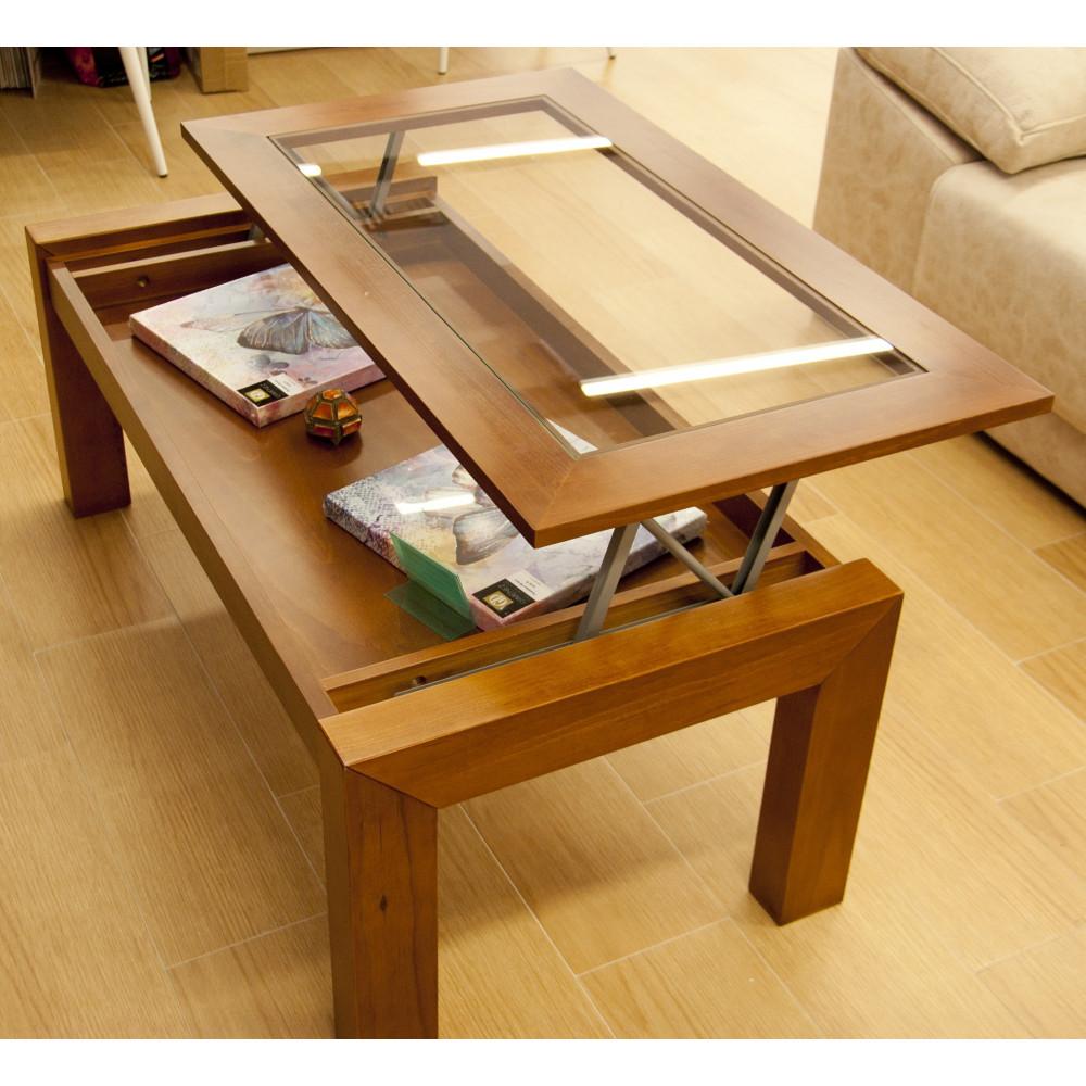 Mesa de centro elevable de madera