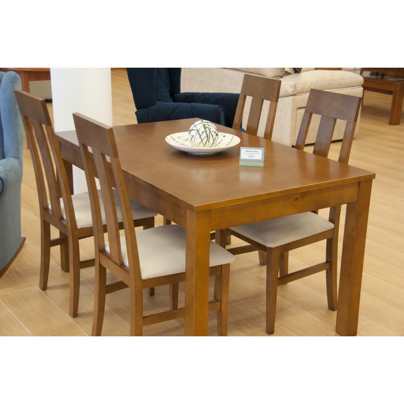 Mesa de comedor extensible de madera natural con juego de cuatro sillas