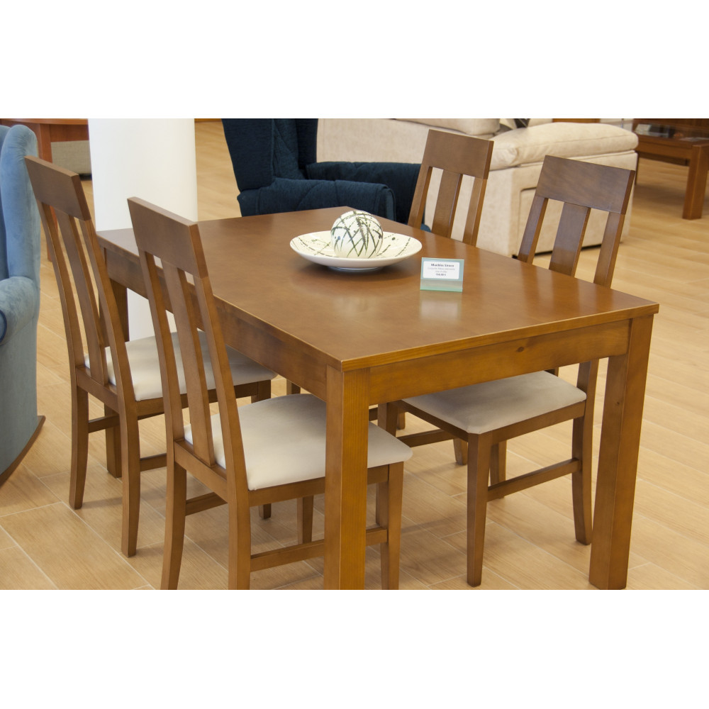 Mesa de comedor extensible de madera natural con juego de
