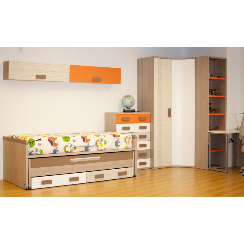 Dormitorio juvenil con cama compacta y armario rinconero