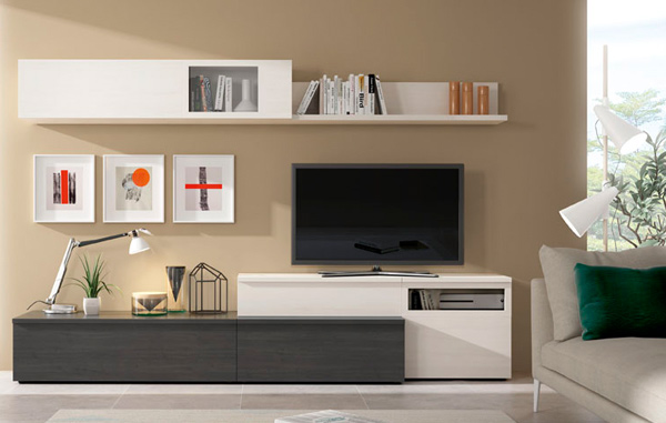Composicin de muebles de saln moderno en polar y antracita