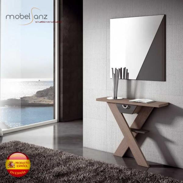 recibidor consola con espejos y cajones moderno