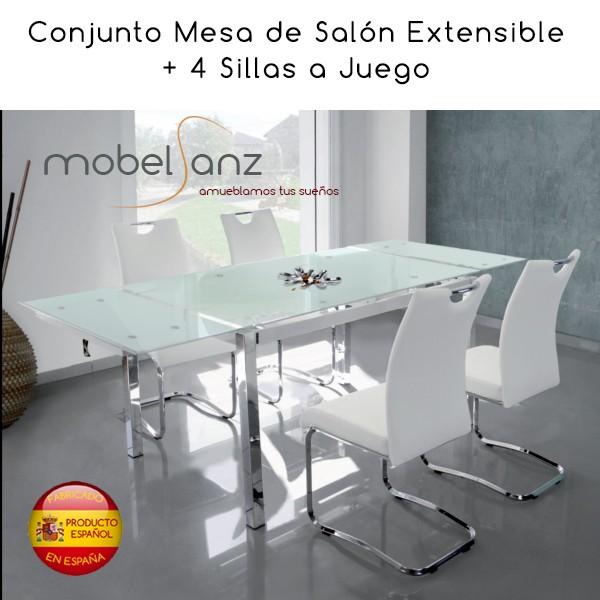 conjunto mesa de y 4 sillas de cocina de cristal