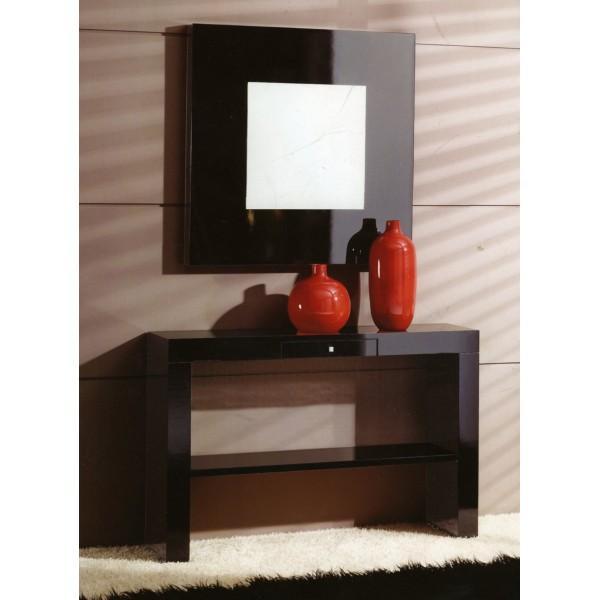 espejo de pared moderno con llavero interior en madera de roble