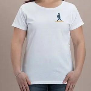 T-Shirt weiß mit Logo Müllers Lust Wanderreisen auf der Brust
