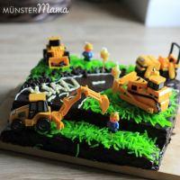 [gebacken] Baustellen-Torte mit Baggern und Bauarbeitern ...