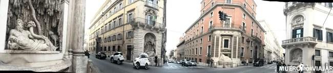 La esquina de las cuatro fuentes en Roma, donde en cada esquina se esconde un pequeño monumento